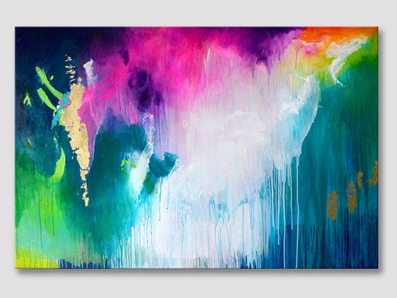 Original large XXL abstract painting, work of art, turquoise fuchsia dark blue, bold colors, gold leaves acrylic colorful painting on canvas