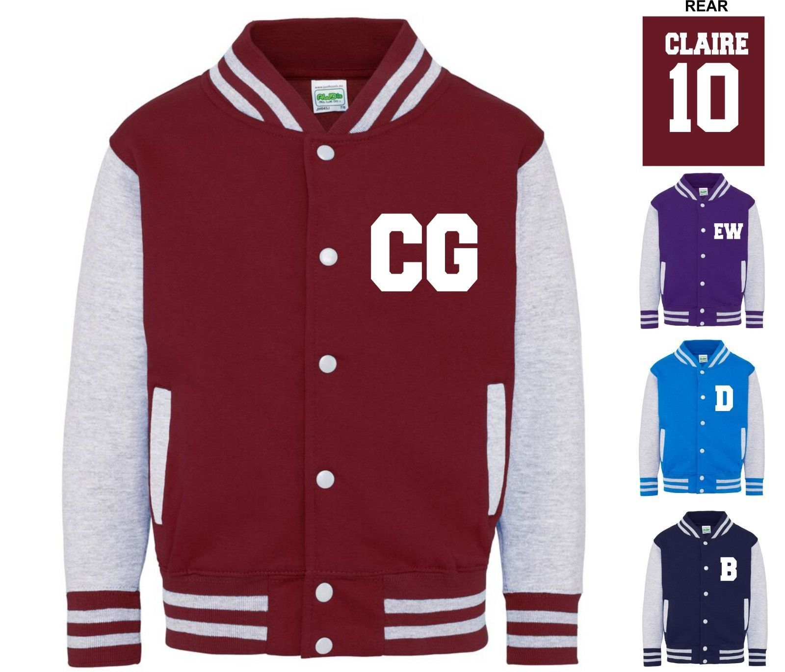 Kids Personalised Name & Number Varsity Letterman Jacket