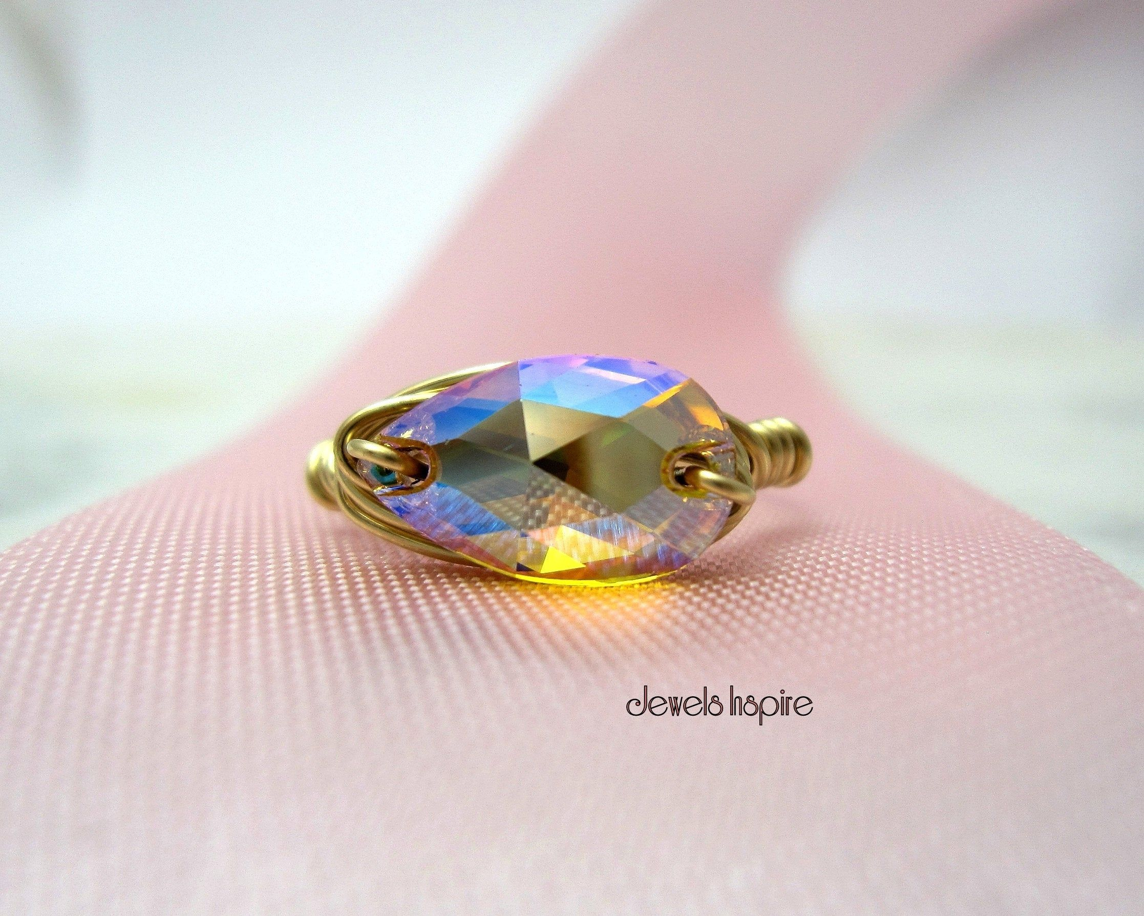 Womens Dazzling White Sapphire Crystal Adjustable Gold Filled Wrap Finger Ring