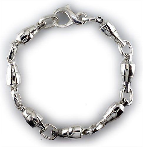 Mens Fishing Swivel Link Sterling Silver Bracelet 8 5