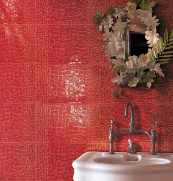 Elegant Crocodile Skin Tile! Great Faucet Too! Nice Ideas