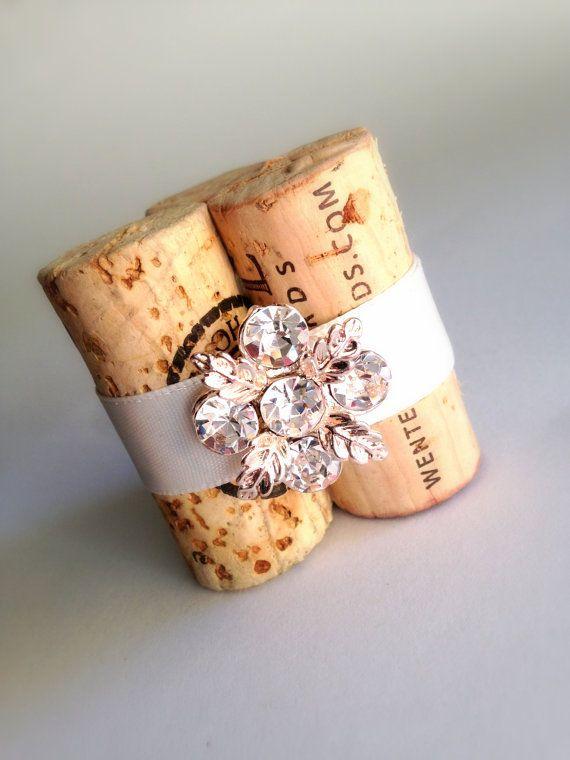 Wine Cork Place Card Holder Set of 10 Gold por KarasVineyardWedding