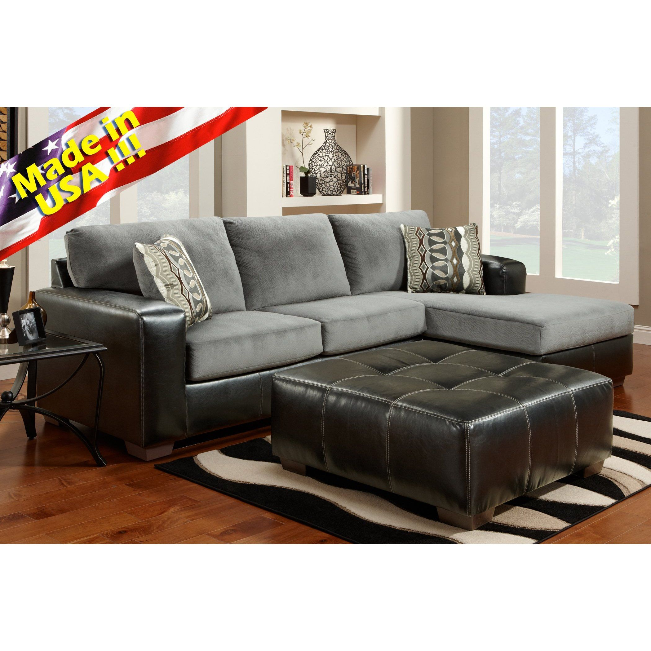 Best Cumulus Black Gray Two Toned Sectional Sofa Chaise Set 640 x 480