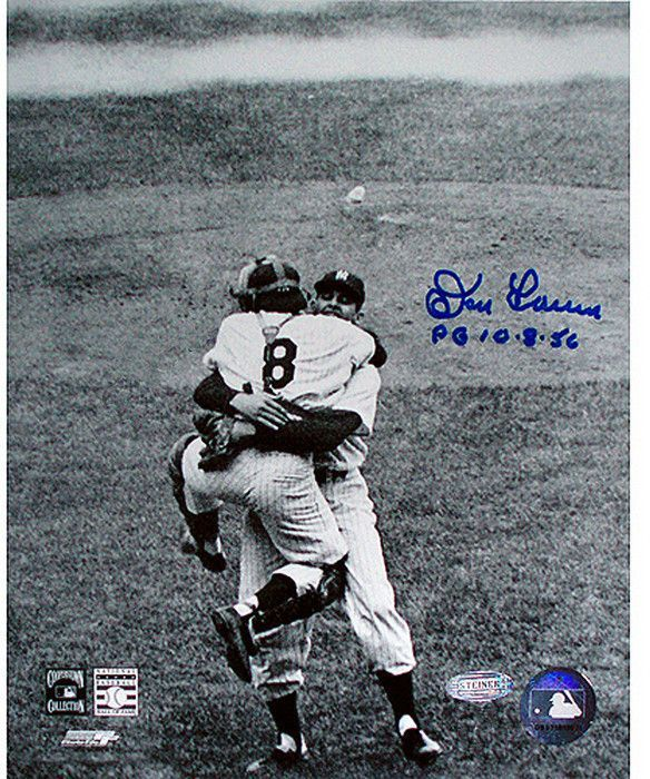 Don Larsen Signed Perfect Game Hug B/W 8x10 w/ PG insc