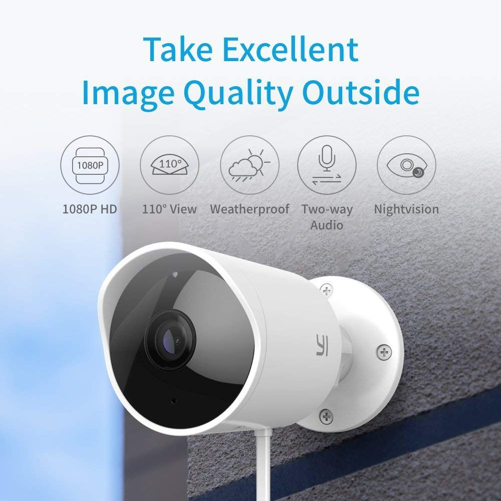 Yi Outdoor Security Camera 1080p Cloud Cam Ip Waterproof Night Vision Surveillance System With Two Outdoor Security Camera Surveillance System Security Camera