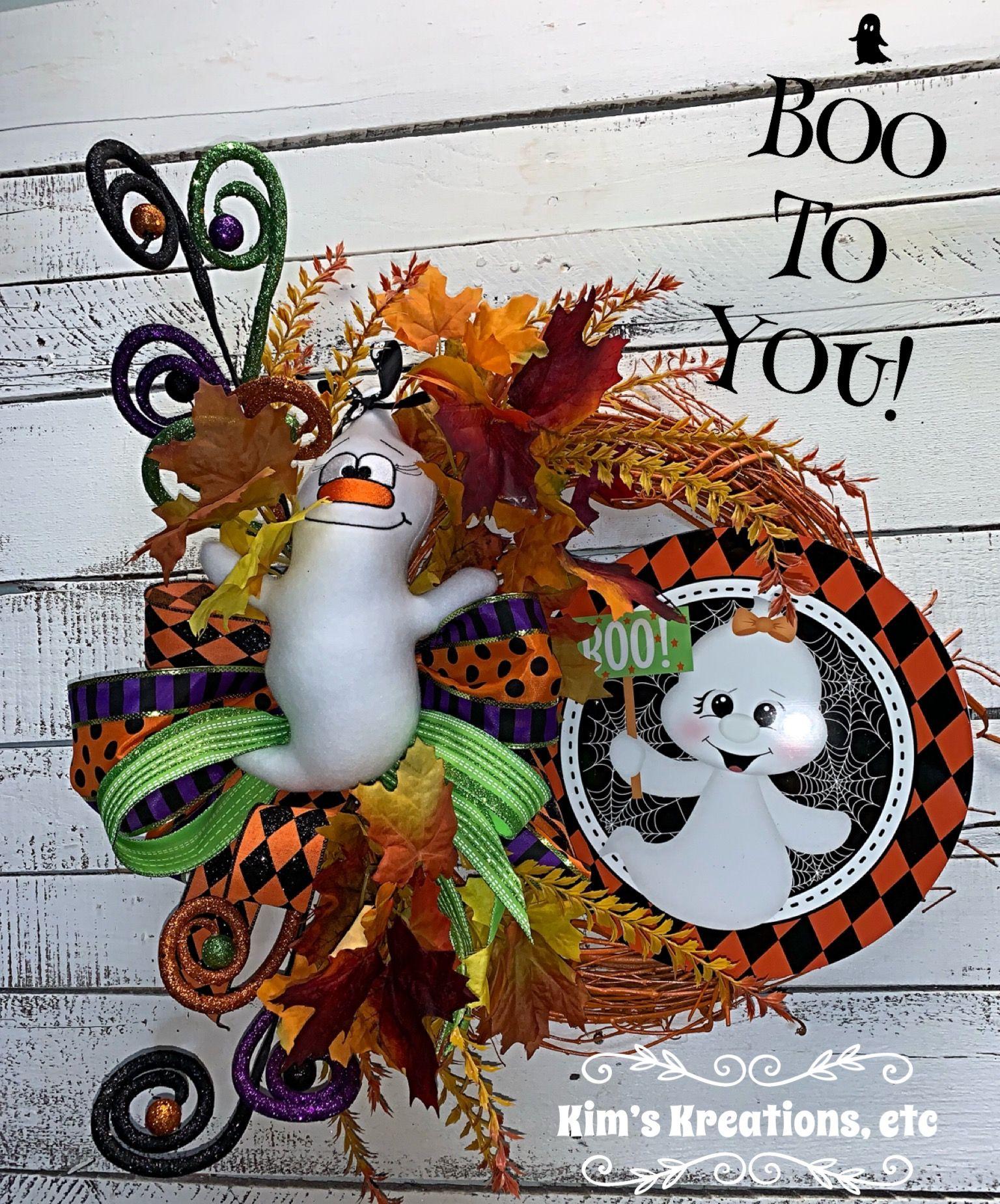 Halloween Wreath, Halloween Ghost, Ghost Wreath, Orange