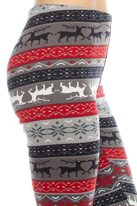 Fair Isle + Reindeer Print Fleece Leggings - Grey/Red | Products ...