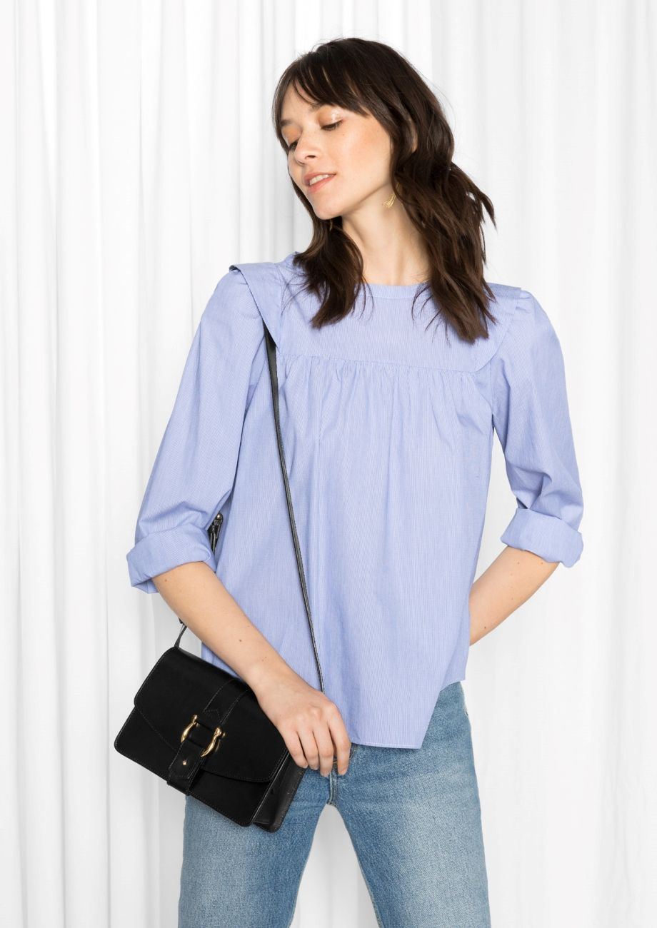 & Other Stories image 2 of Cotton-Poplin Blouse in Blue