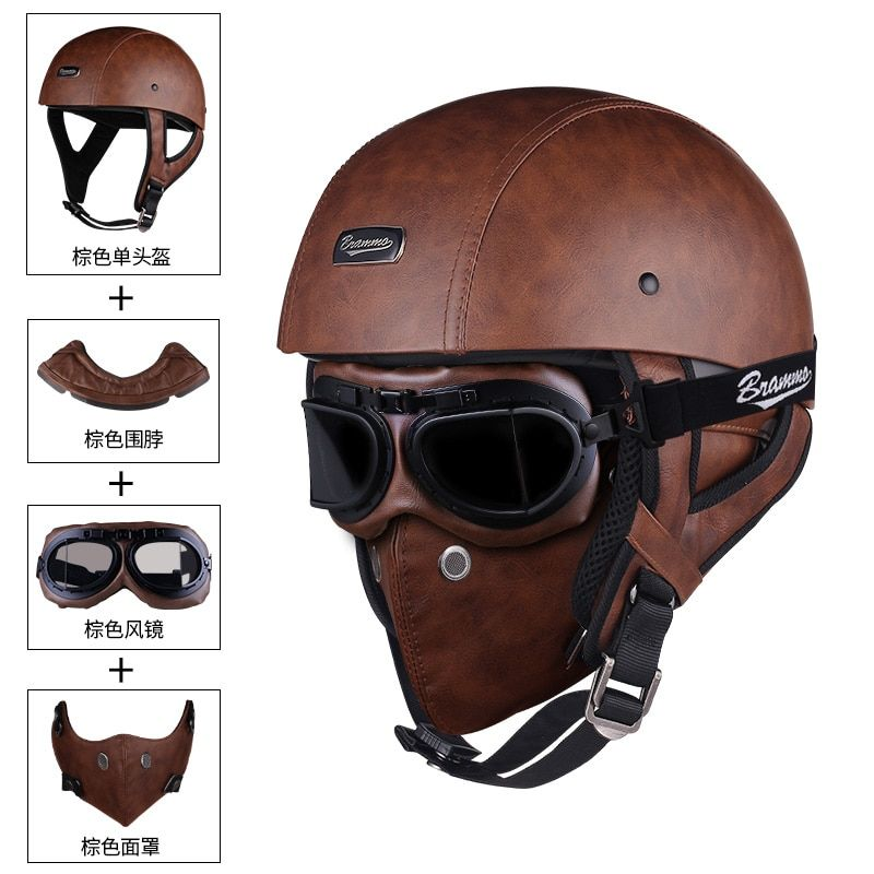 For Cycling Scooter German Style Sports Motorcycle Half Helmet Skull Cap Biker