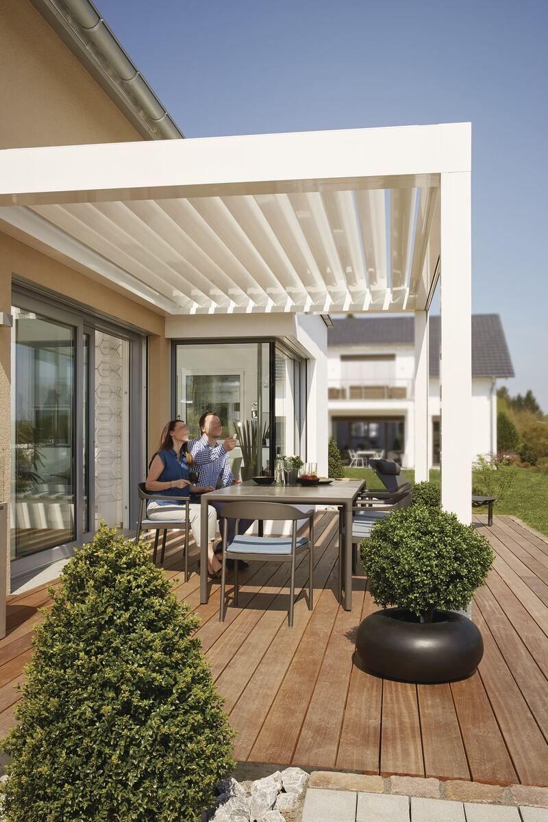 Terrasse Aus Holz Mit Pergola Anbau Architektur Detail Weberhaus