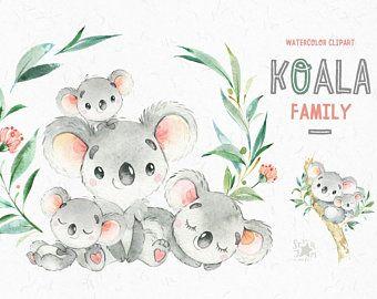 koala. Clipart d'aquarelle de petits animaux, Australie, ours de koala, aquarelle, fleurs, babyshower, enfants, bébé, mignon, starjamforkids de pépinière