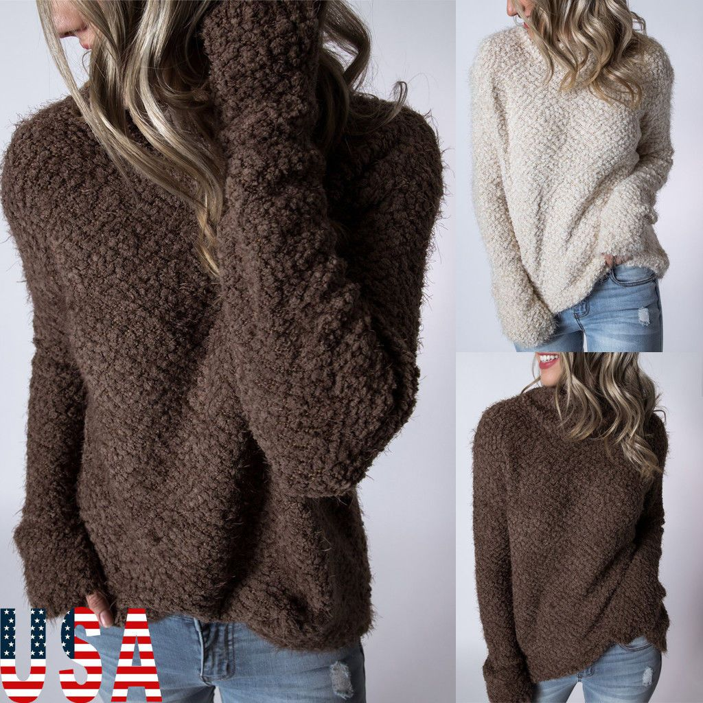 14.99 USD | Women's Loose Knitted Pullover Jumper Sweater Casual Long  Sleeve Knitwear Top US | #womens #knitted #pullover #jumper #sweater  #casual #sleeve ...