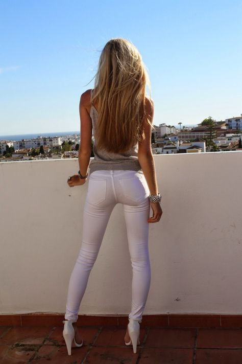 Sexy girls in white jeans