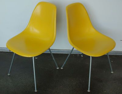 Eames Yellow Shell Chairs. These are some vintage pieces of mid century furniture.