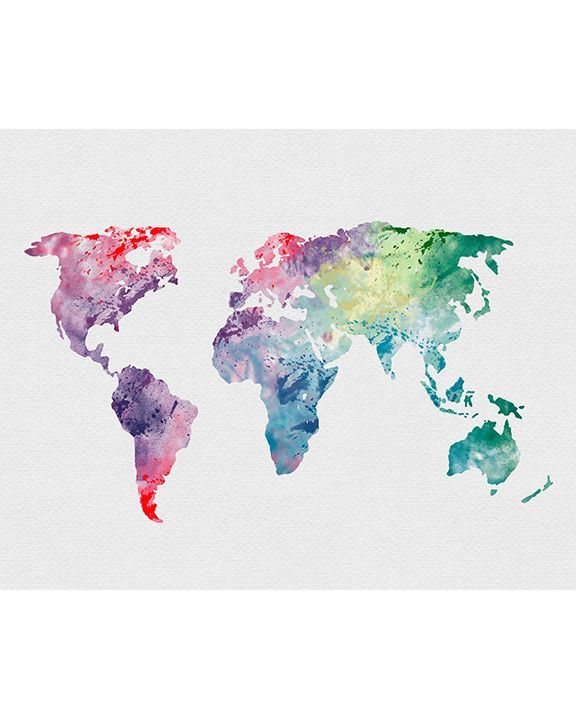 World Map 1 Watercolor Art Print Aquarell Karte Weltkarte Und