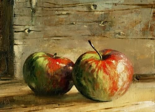 "Daily Paintworks - ""Two Apples (£99)"" by Nigel Fletcher"