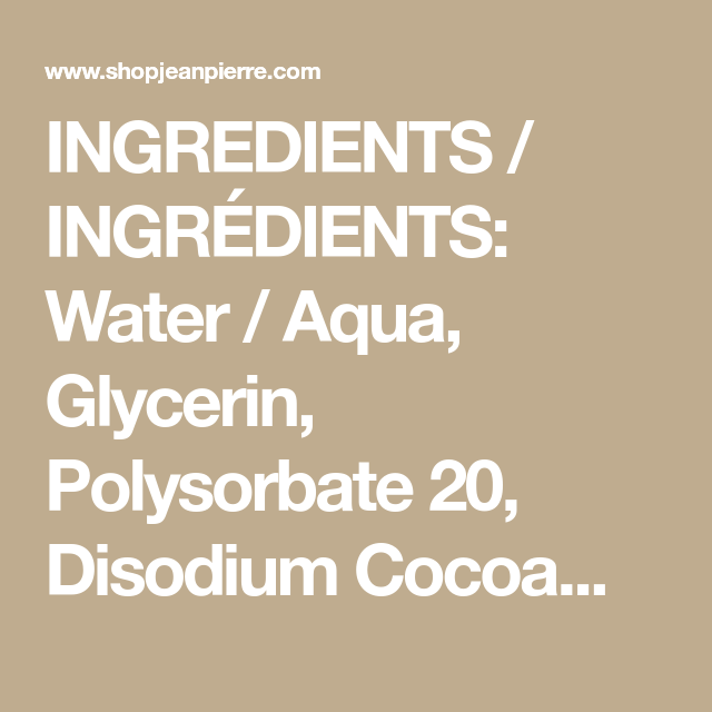 Ingredients Ingredients Water Aqua Glycerin Polysorbate 20 Disodium Cocoamphodipropionate Rosa Rugosa Flowe Facial Wipes Polysorbate 20 Flower Extract