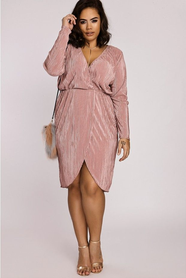 e831779b382c CURVE EMMELINE ROSE SATIN PLEATED LONG SLEEVE WRAP DRESS | Curvy ...