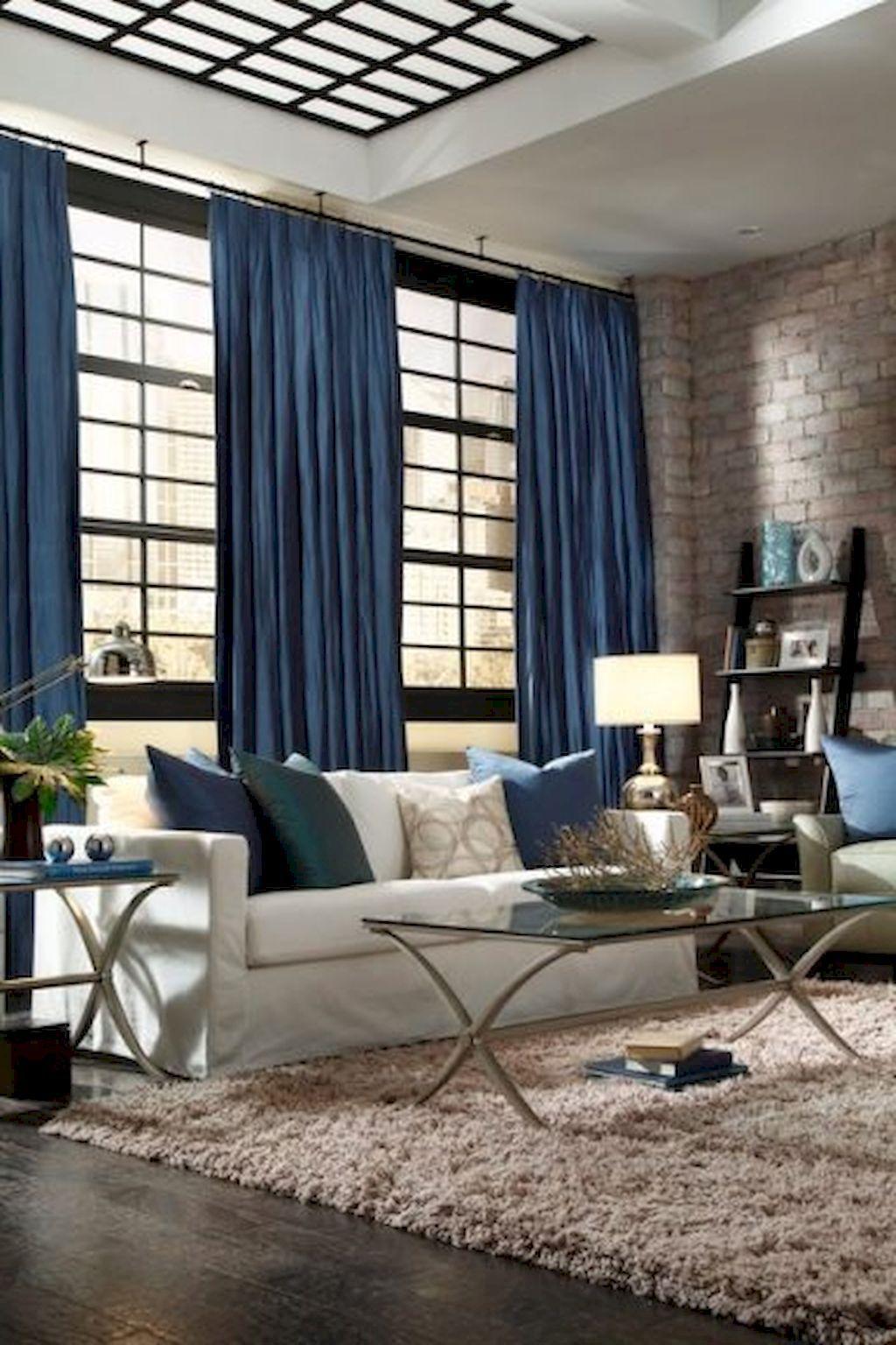 80 Contemporary Living Room Decoration Ideas Home To Z Blue Curtains Living Room Curtains Living Room Contemporary Decor Living Room #navy #living #room #curtains