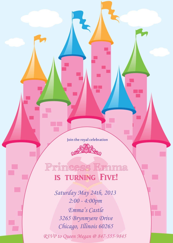 Birthday PRINCESS Invitation (DIgital File Print) by FunablesCreations on Etsy https://www.etsy.com/listing/157987848/birthday-princess-invitation-digital