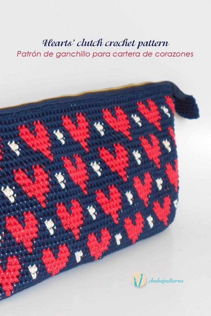 Hearts\' clutch pattern by Maria Isabel | Häkeln, Gehäkelte taschen ...