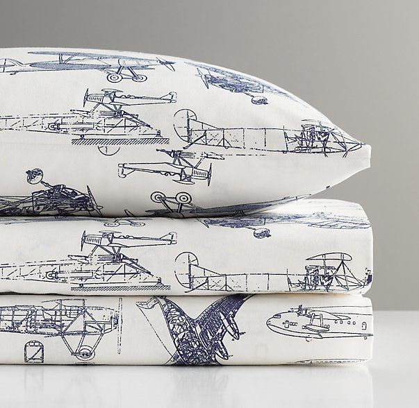 Vintage Airplane Blueprint Crib Fitted Sheet Vintage
