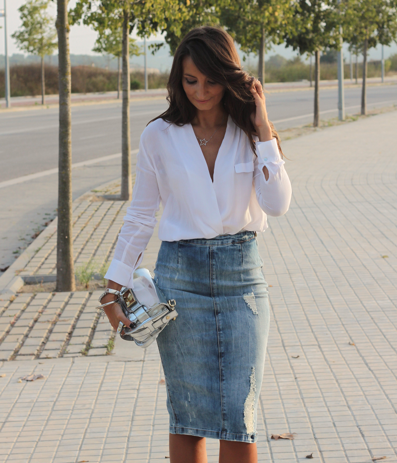 Pure Style by Erika: Midi Denim Skirt | Bloggers who inspire me ...