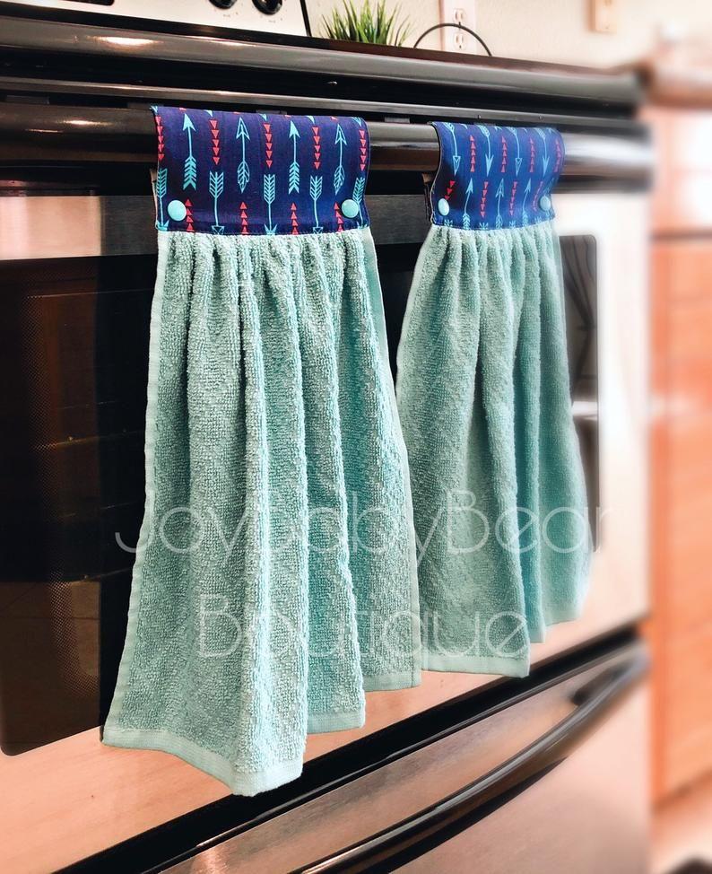 Hanging Kitchen Towels Aqua And Blue Kitchen Towel Etsy Kitchen Towels Hanging Blue Towels Kitchen Towels