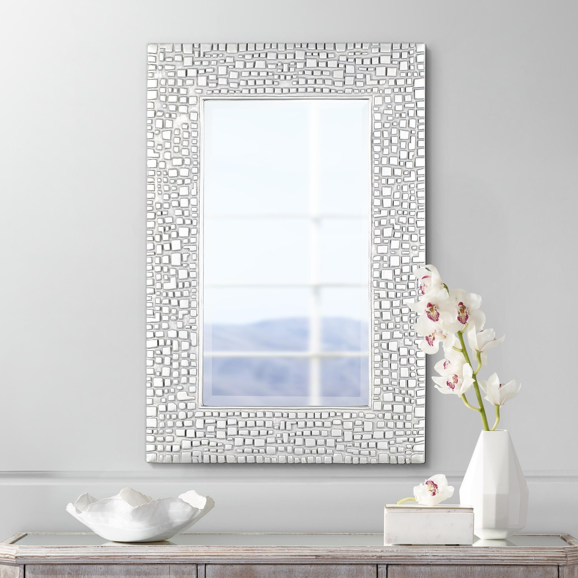 Mirrors Savla Textured Relief Silver 24 X 36 Wall Mirror Mirror Wall Bedroom Mirror Wall Modern Mirror Wall