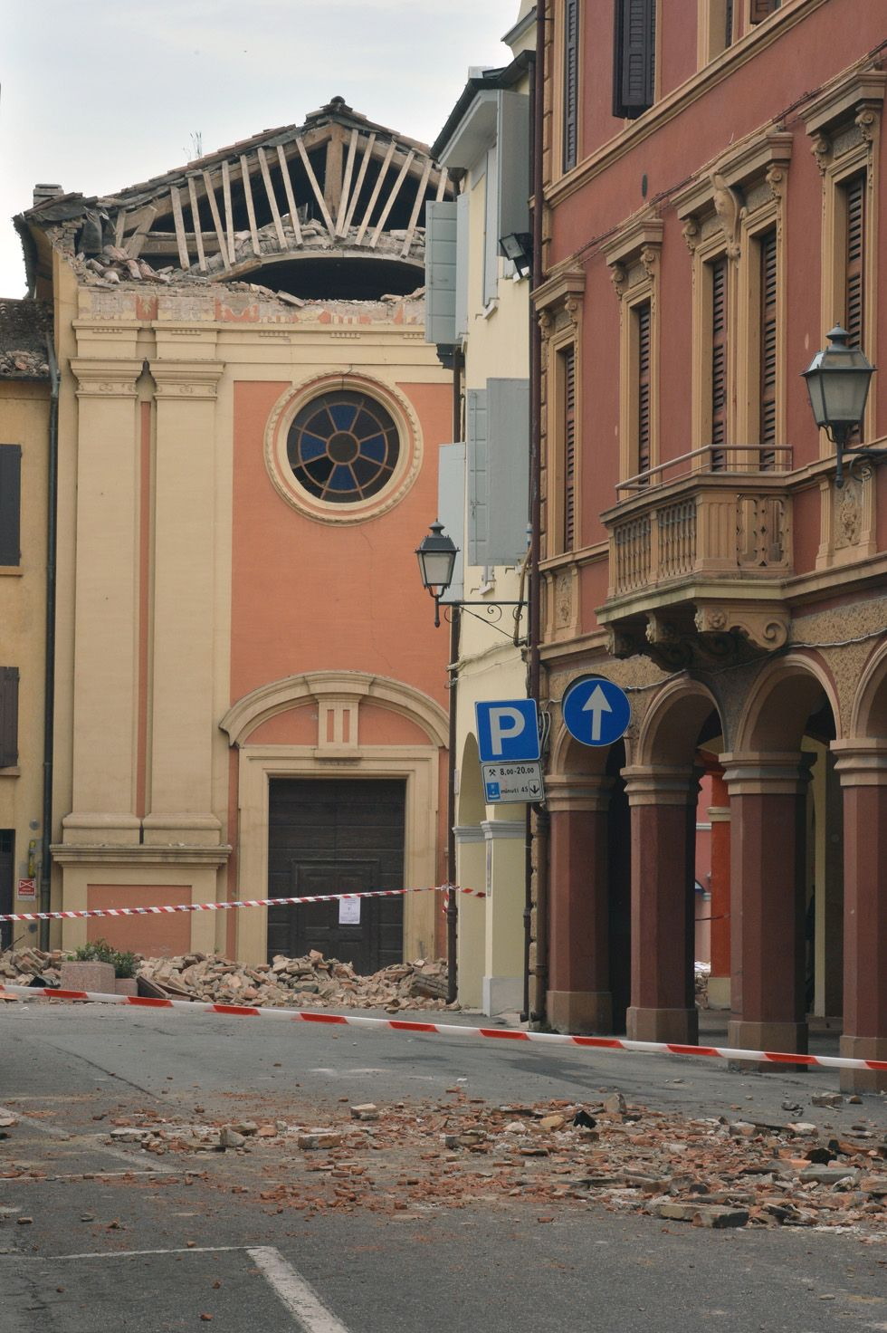 Photo: Bricks & rubble lie in the streets after May 20 2012 #earthquake in #Italy