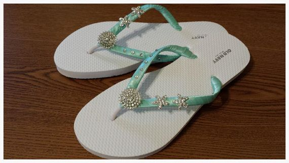 Aqua Wedding Flip Flops Starfish Sandals Bridesmaid Quinceaneras Seafoam Beach Shoes Bride Bridal