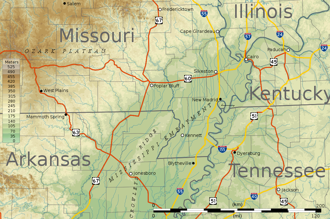 Map Of Missouri Bootheel Topography Yahoo Image Search Results - Show me a map of missouri