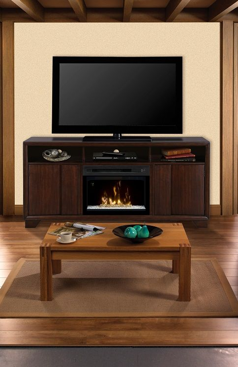 Dimplex Arkell Media Cabinet With Electric #fireplace And TV Above.