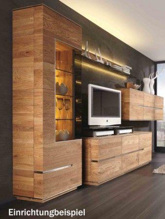 Wohnzimmerwand Wohnwand Wohnzimmer Asteiche Eiche massiv geölt - wohnzimmer ideen eiche