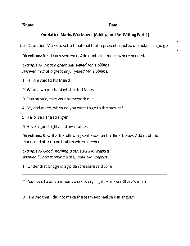 Englishlinx.com | Quotation Marks Worksheets | Englishlinx.com Board ...