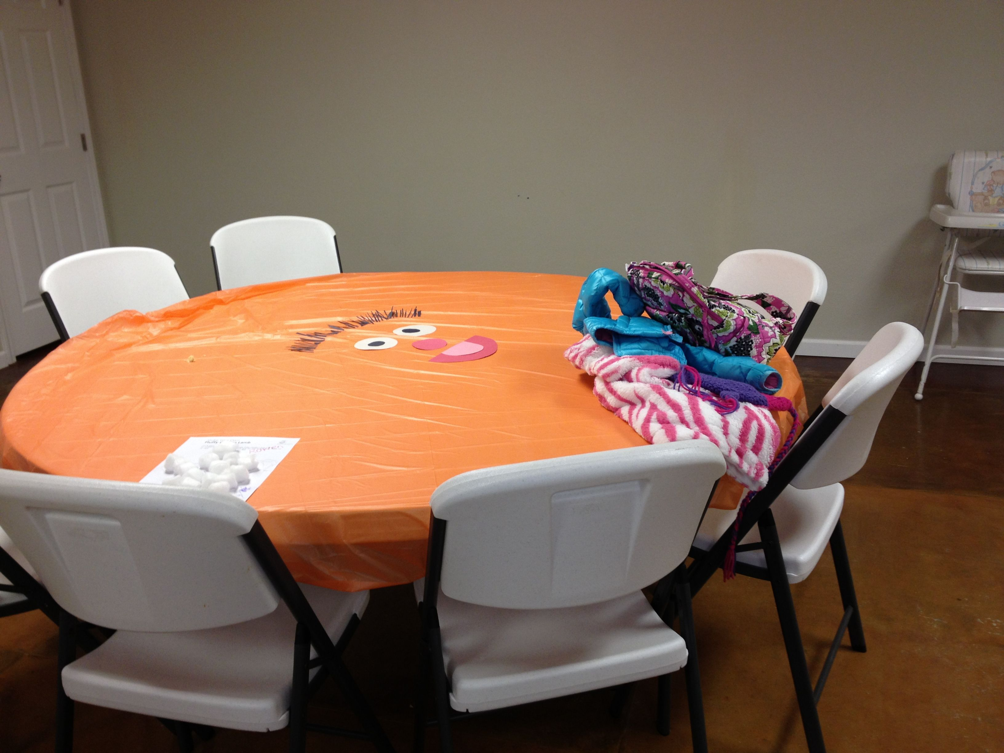 DIY Ernie From Sesame Street Tablecloth. Cut Simple Shapes From  Construction Paper And Tape Or