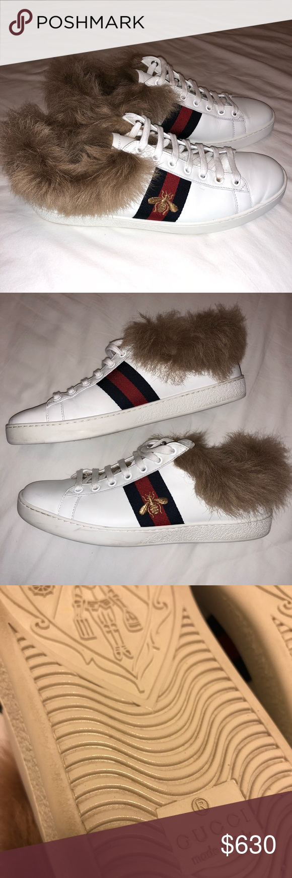 "300456df4d08 AUTHENTIC Gucci Ace Sneakers Wool Fur White - 100% AUTHENTIC Gucci ""Ace""  sneakers with wool-lined interior   trim - Lightly worn and refinished -  wool type  ..."