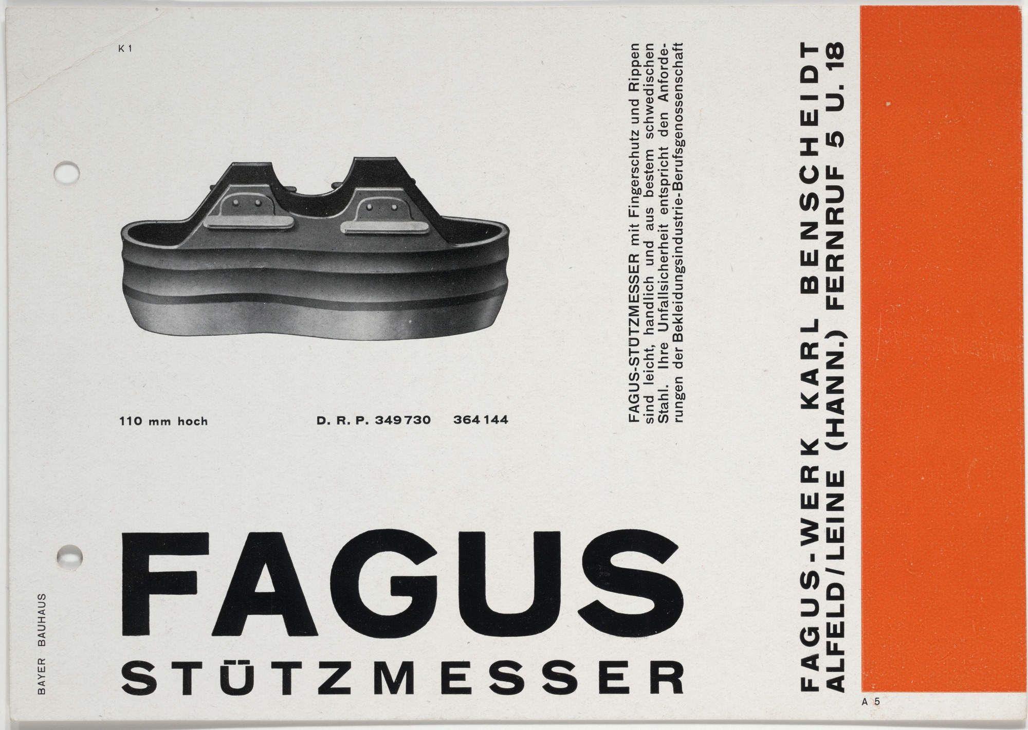 Herbert Bayer Fagus Stützmesser 1926