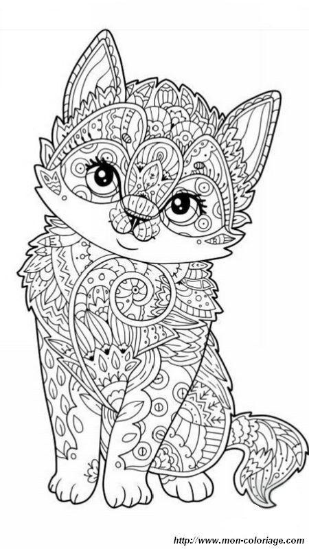 Coloriage de petit chaton   gatos   Pinterest   Mandalas, Tiernas y ...