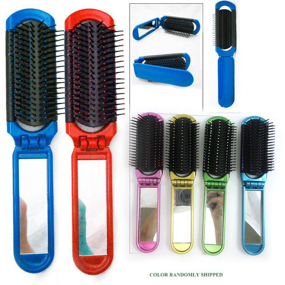 5 Folding Hair Brush Mirror Compact Pocket Size Travel Car