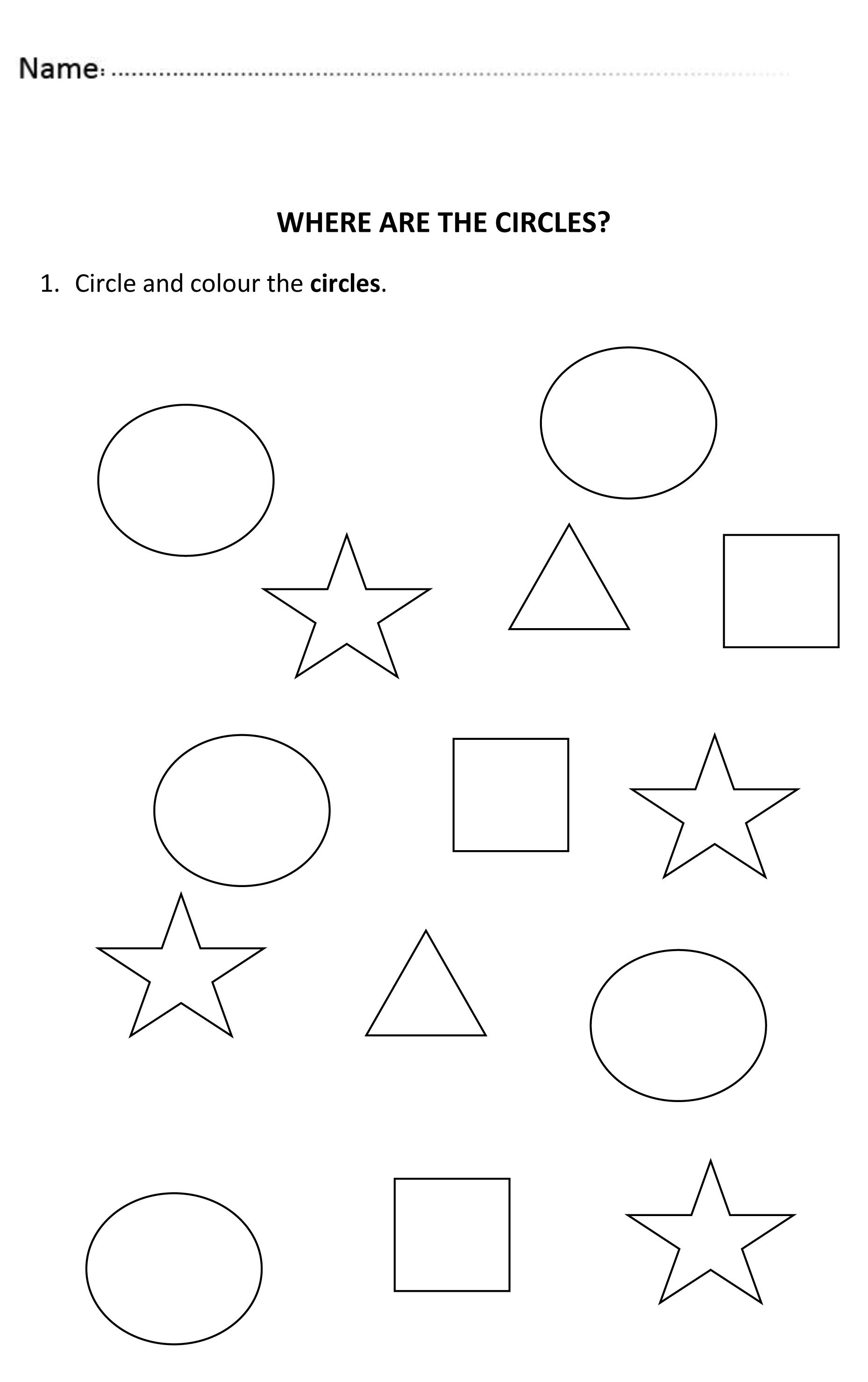 2 Preschool Worksheets Circle In