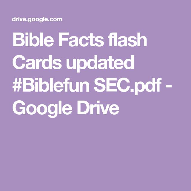 Bible Facts Flash Cards Updated Biblefun Sec Pdf Google