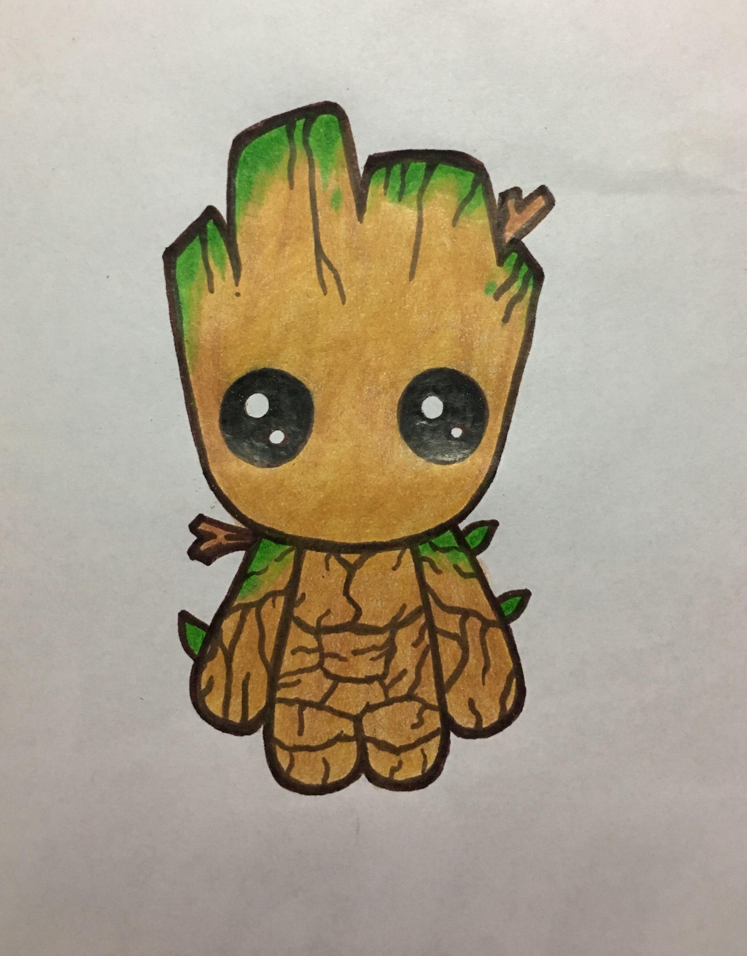 Baby Groot Dibujo Sobre Papel Pintados Con Lapices Giotto Dibujos Kawaii Dibujos Bonitos Dibujos Kawaii Tiernos