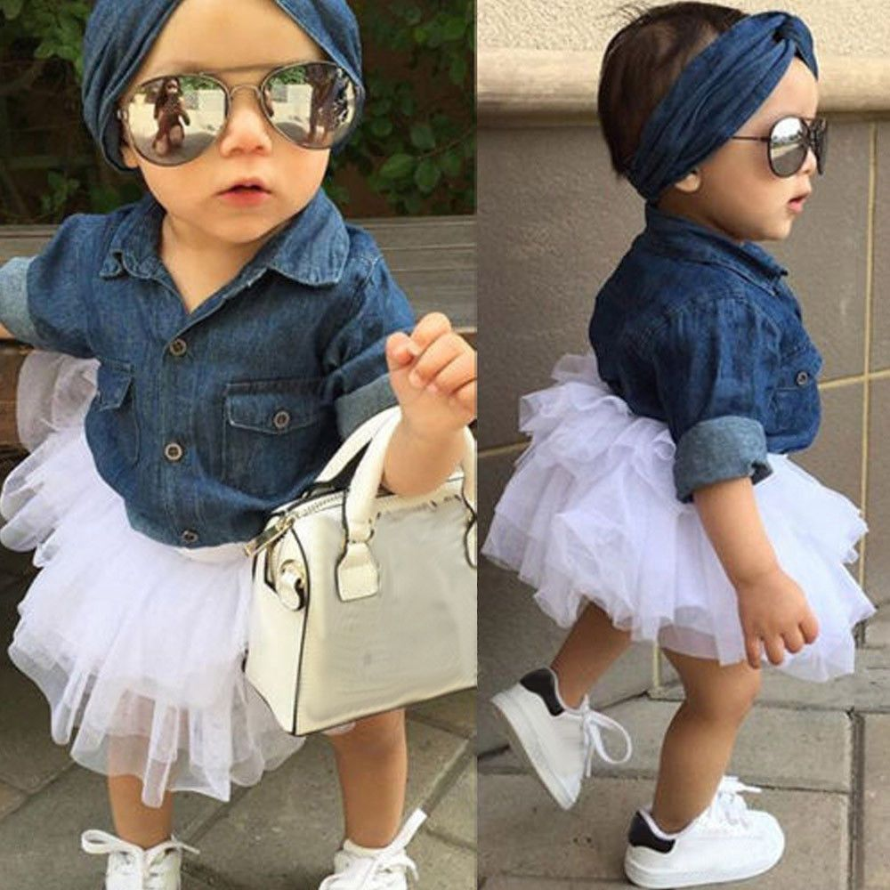51078d861 Toddler Kids Baby Girl Denim Tops Shirt+Tulle Tutu Skirt+Hairband 3Pcs  Dress Set