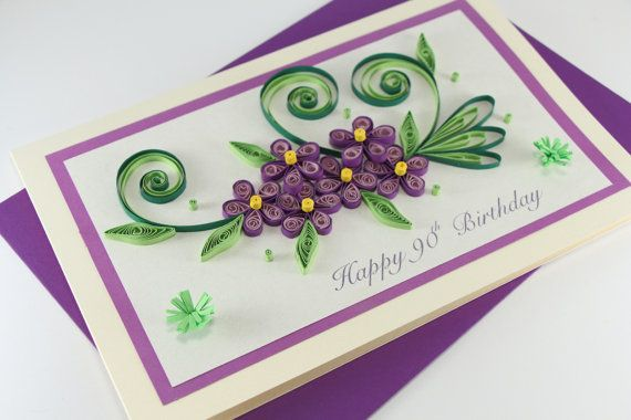 Happy Birthday Card Mom Daughter Sister Nan Handmade Paper Quilling Can Be Also Greetingcard Cardmaking Green