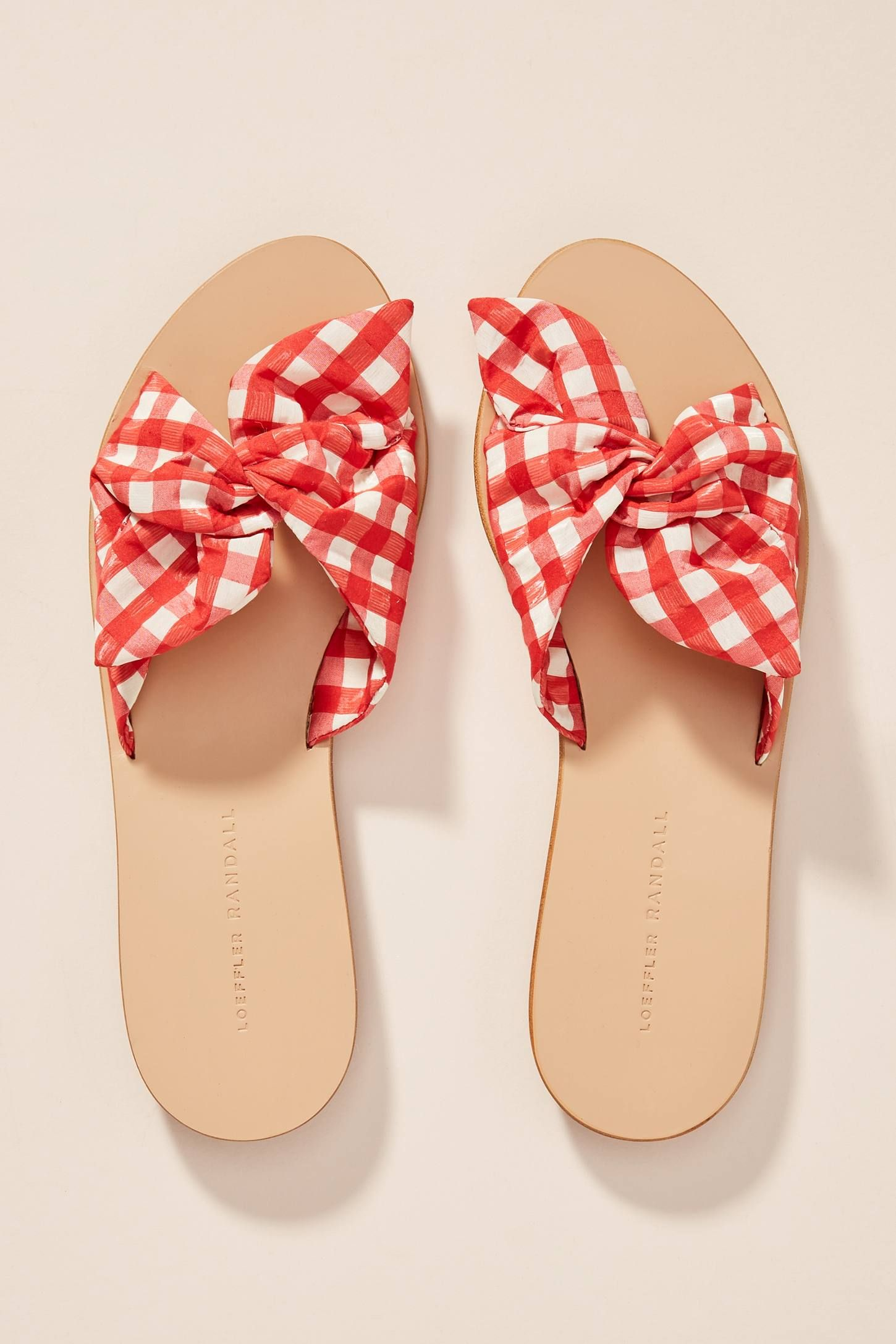 968cc611287c7e Red Gingham Knotted Slide Sandals