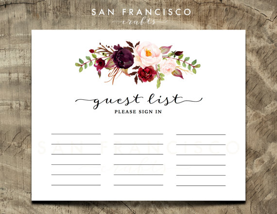 Guest List Sign In Sheet Guestbook By Sanfranciscocrafts On Etsy Alternative Bridal Guest Book Alternatives Guest List