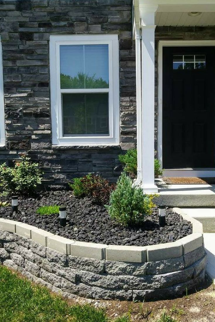 diy raised flower bed idea for the front of the house with