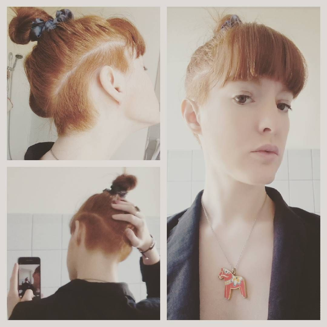 undercut #undershave #undercutgirl #topknot #fringe #bangs #ginger ...