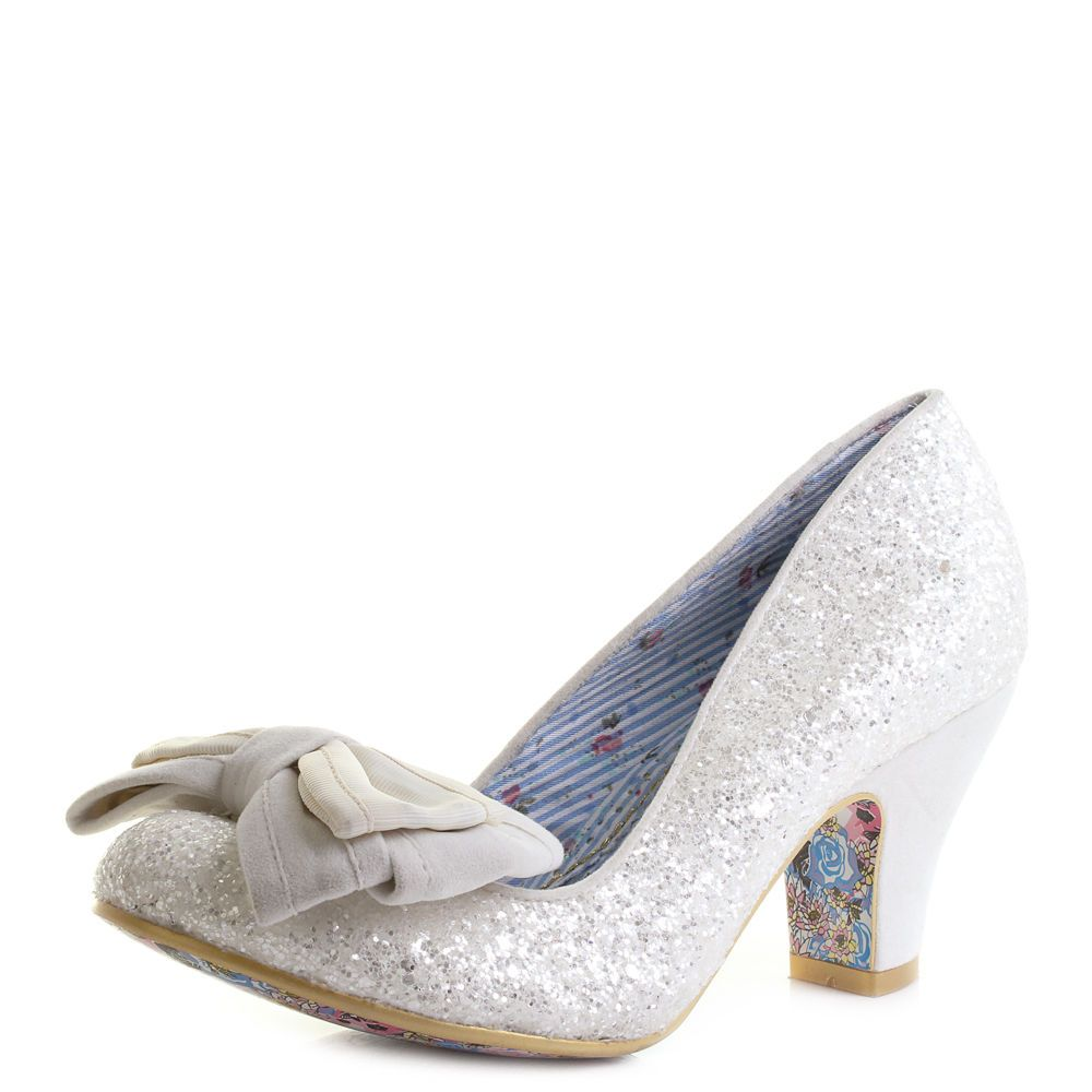 e6380b794b87 Womens Irregular Choice Ban Joe Cream Glitter Low Heeled Court Shoes UK Size
